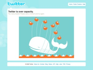 Twitter over capacity because of growing popularity.